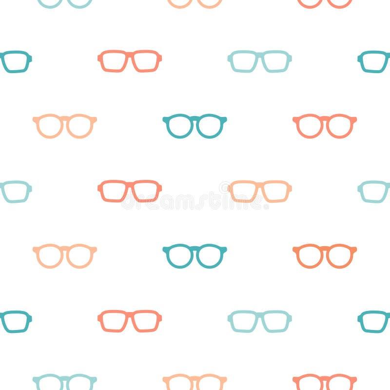 Modello senza cuciture con i vetri variopinti dei pantaloni a vita bassa Struttura unisex degli occhiali da sole illustrazione vettoriale