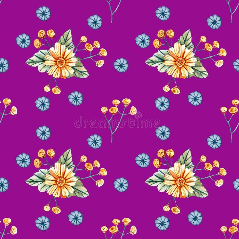 Modello senza cuciture con i wildflowers dell'acquerello su un fondo porpora royalty illustrazione gratis