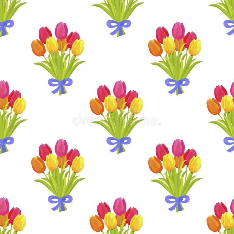 Modello senza cuciture con il bello mazzo dei tulipani illustrazione di stock