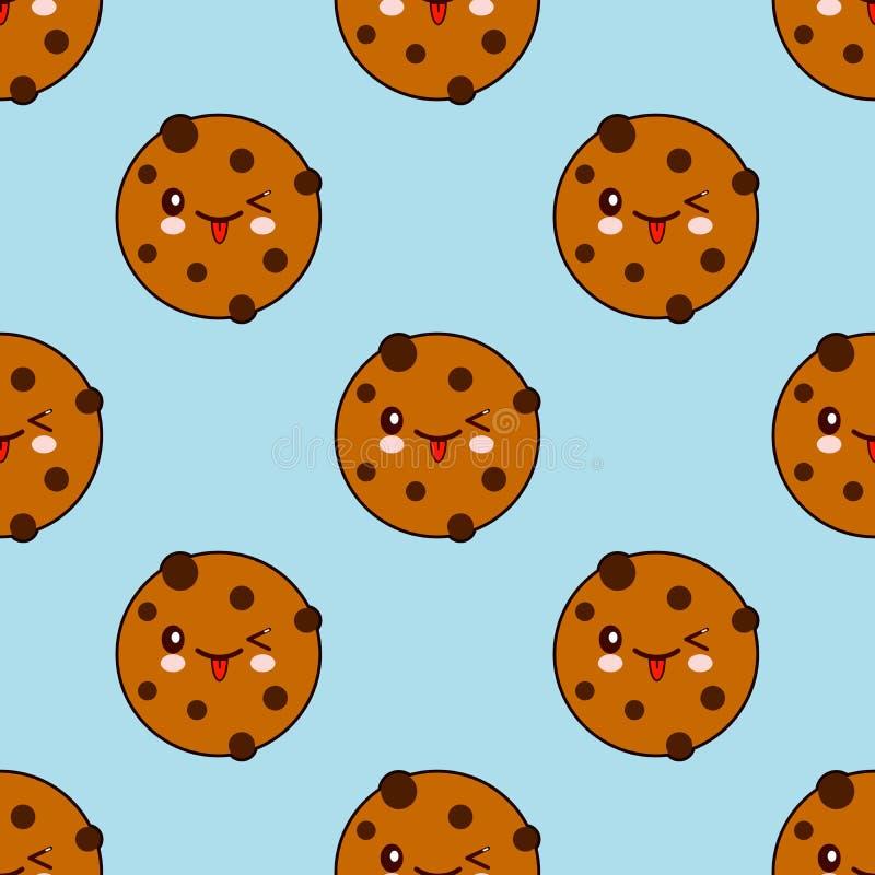 Modello senza cuciture con il biscotto del cioccolato isolato su fondo blu illustrazione di stock