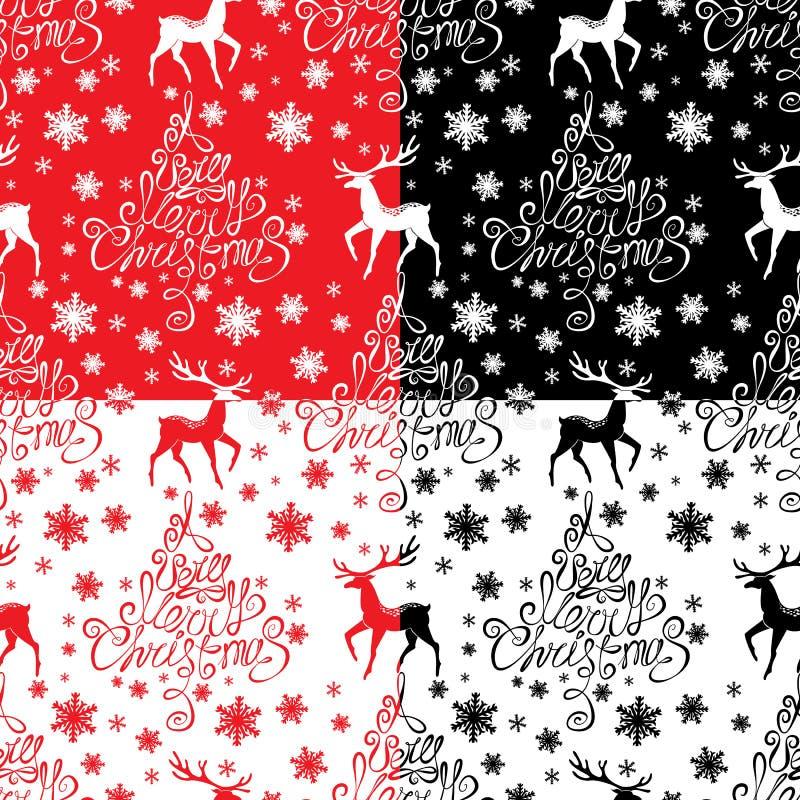 Modello senza cuciture con il Buon Natale calligrafico del testo A molto royalty illustrazione gratis
