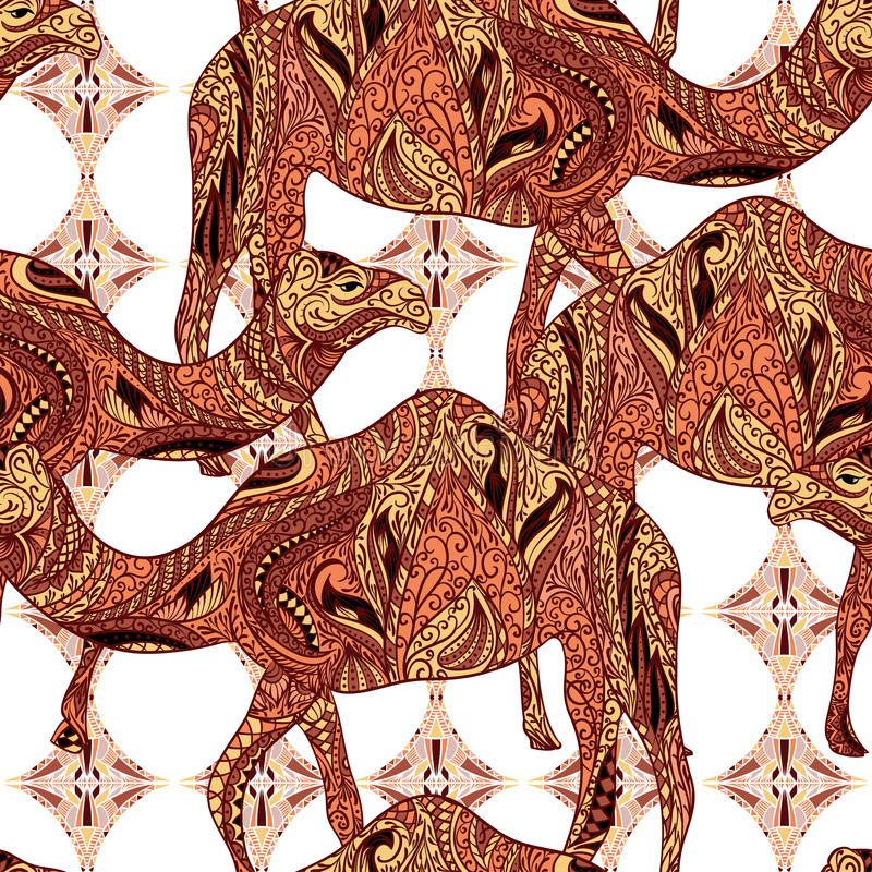 Modello senza cuciture con il cammello decorato con gli ornamenti orientali e l'ornamento floreale variopinto dell'Egitto royalty illustrazione gratis