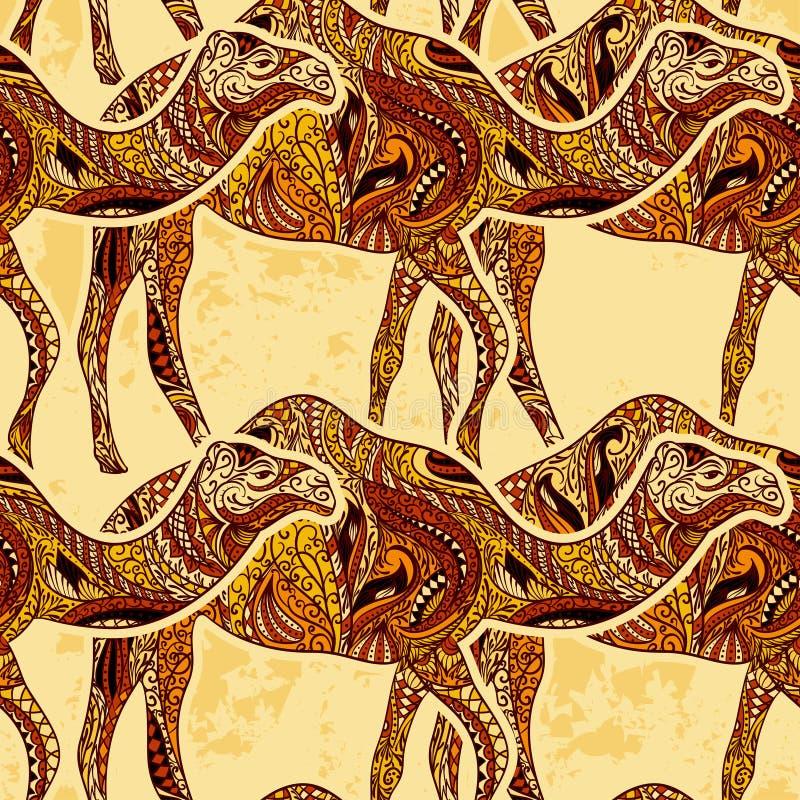 Modello senza cuciture con il cammello decorato con gli ornamenti orientali sul fondo di lerciume royalty illustrazione gratis