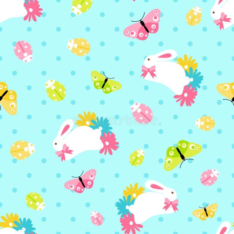 Modello senza cuciture con il coniglietto della molla di pasqua in fiori su fondo blu immagini stock libere da diritti