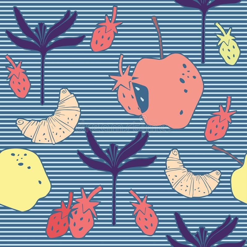 Modello senza cuciture con il croissant, le fragole, il fiore e le mele fotografia stock libera da diritti