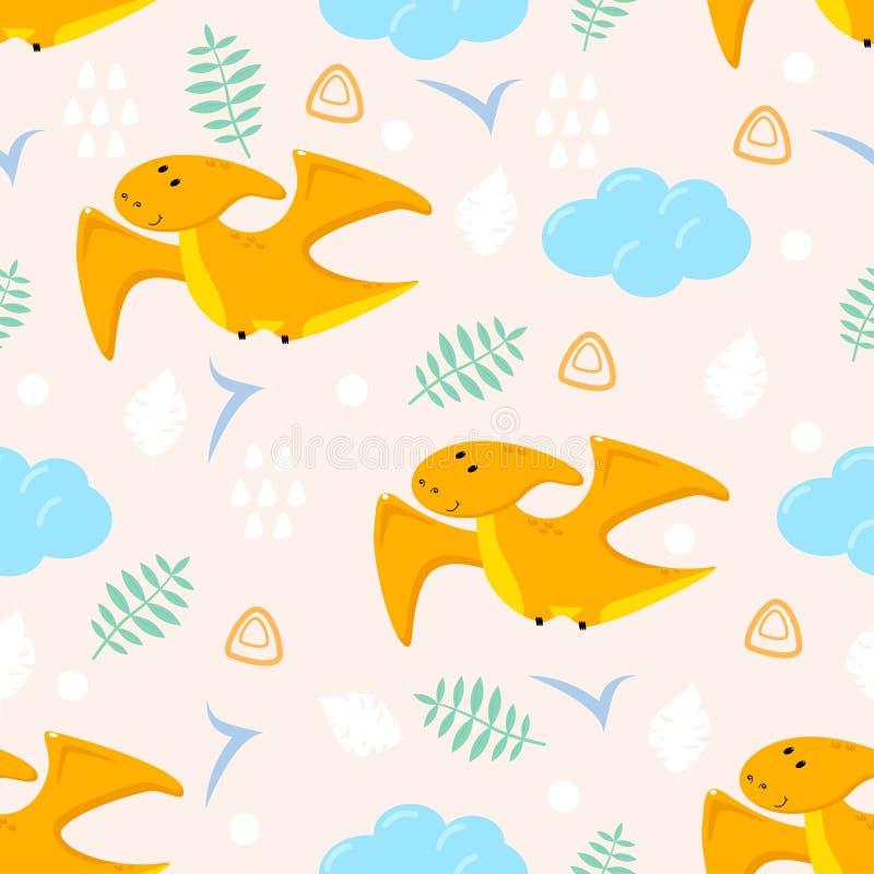Modello senza cuciture con il dinosauro e la nuvola arancio svegli - illustrazione di vettore, ENV royalty illustrazione gratis
