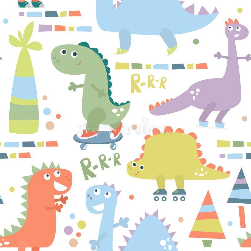 Modello senza cuciture con il dinosauro Fondo per il tessuto, avvolgentesi, tessuto, carta da parati del bambino Illustrazione di illustrazione vettoriale