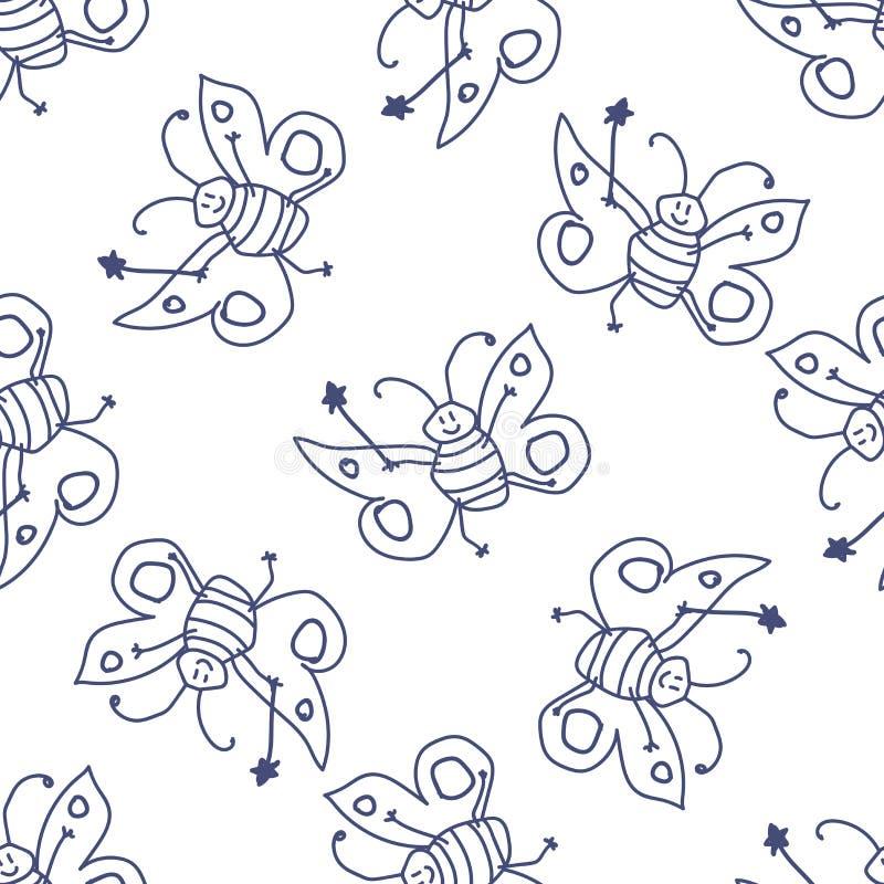 Modello senza cuciture con il fatato felice della farfalla illustrazione vettoriale