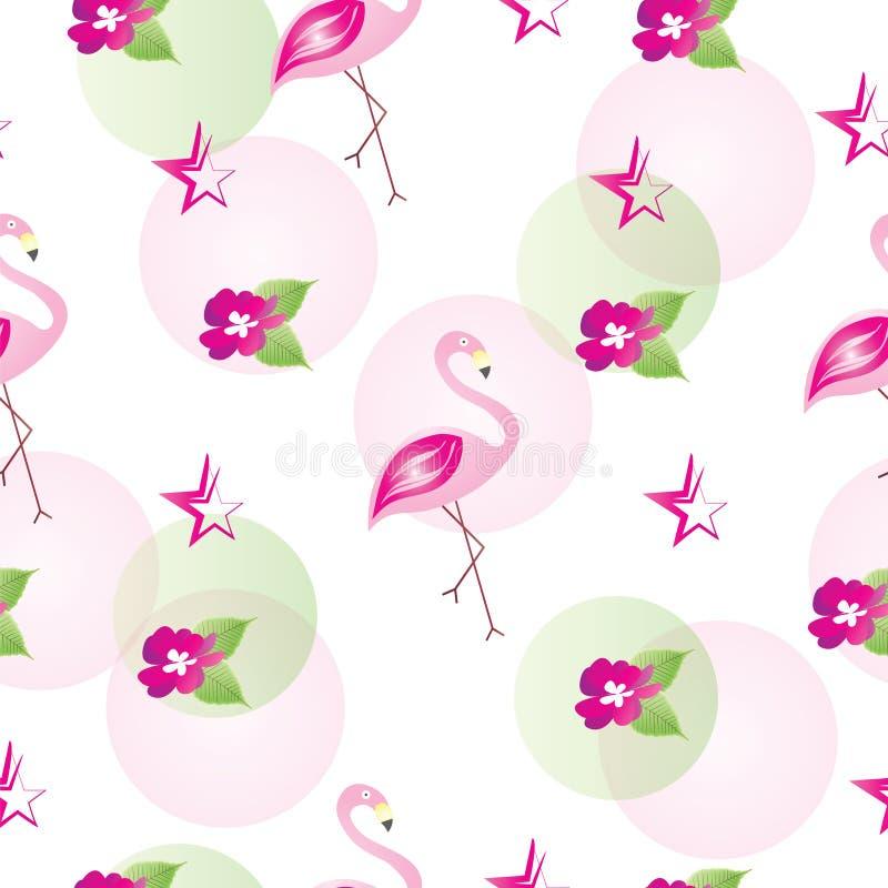 Modello senza cuciture con il fenicottero, i fiori rosa ed il vettore delle stelle illustrazione di stock