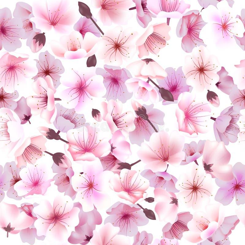 Modello senza cuciture con il fiore di ciliegia, Orientale sbocciante, Sakura Flowering Spring Festival Hanami royalty illustrazione gratis
