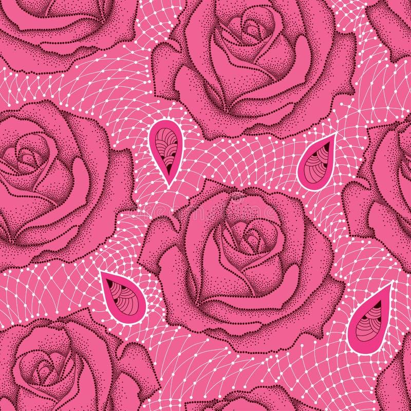 Modello senza cuciture con il fiore rosa punteggiato in pizzo nero e decorativo nel bianco sui precedenti rosa illustrazione vettoriale