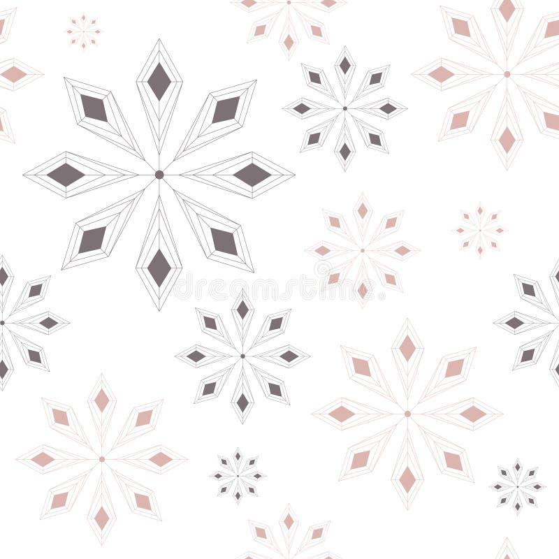 Modello senza cuciture con il fondo astratto dei fiocchi di neve Fiocchi di neve grigi e dorati Illustrazione di vettore Priorità illustrazione vettoriale