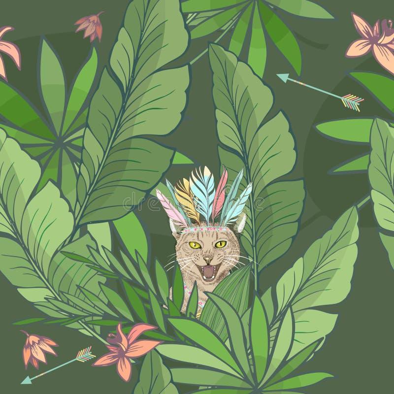 Modello senza cuciture con il gatto di grido o miagolante sveglio in un copricapo della piuma che si nasconde fra le foglie tropi royalty illustrazione gratis