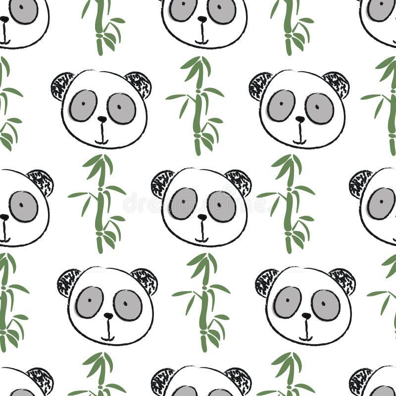 Modello senza cuciture con il grande panda del fronte sveglio illustrazione vettoriale