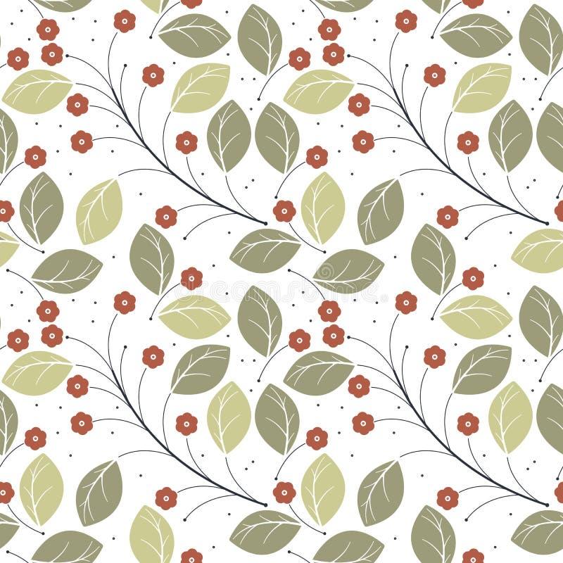 Modello senza cuciture con il isola rosso alla moda delle foglie verdi e dei fiori illustrazione di stock