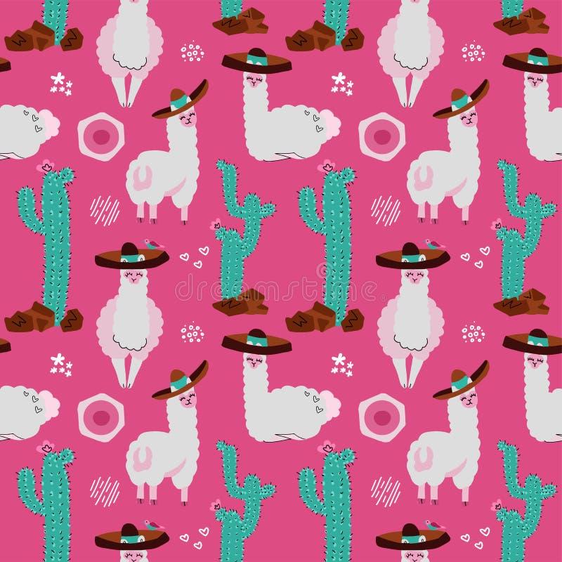 Modello senza cuciture con il lama, l'alpaga, il cactus e gli elementi di progettazione su fondo rosa Illustrazione disegnata a m royalty illustrazione gratis
