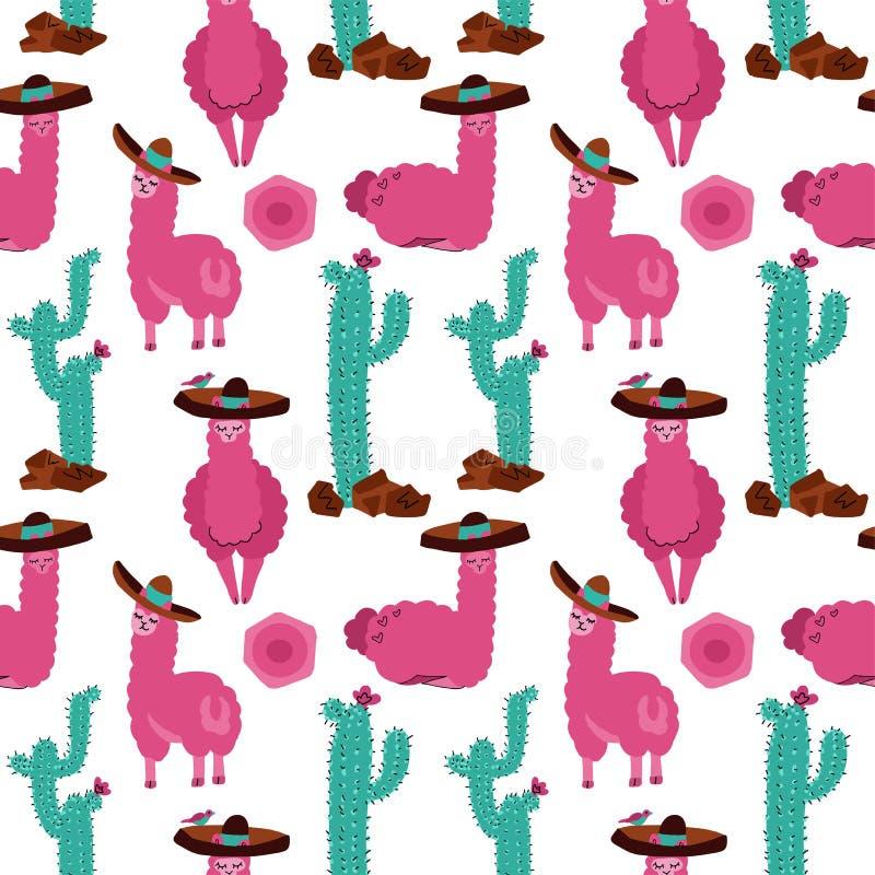 Modello senza cuciture con il lama in sombrero, in cactus e negli elementi disegnati a mano Struttura puerile creativa Grande per illustrazione vettoriale
