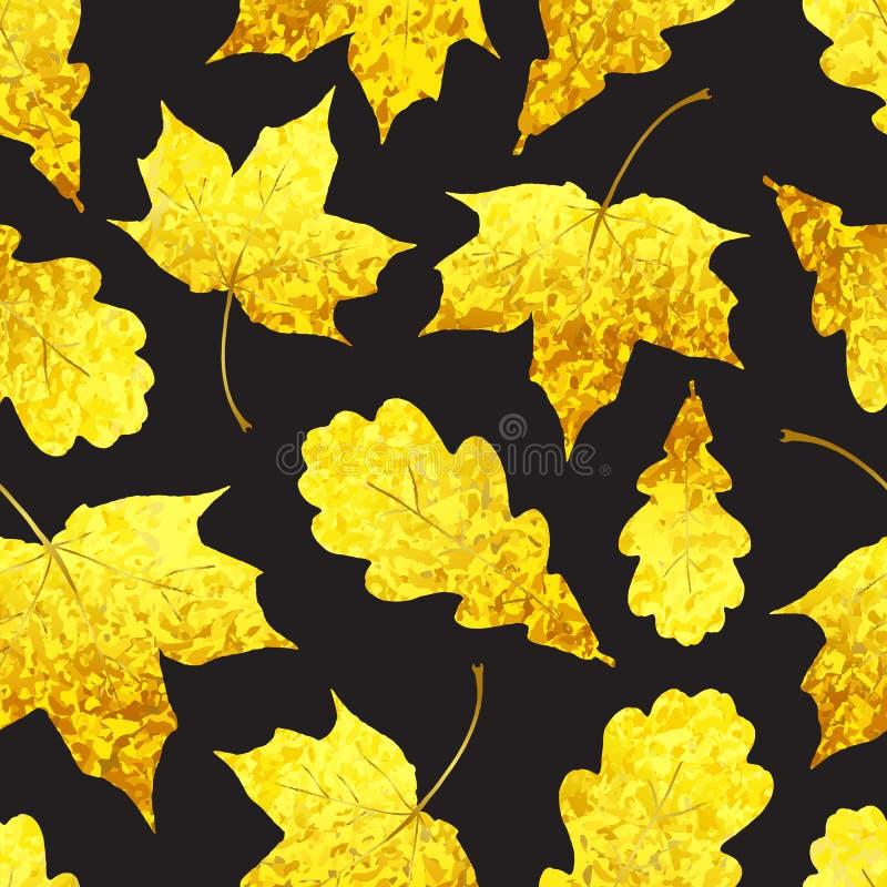 Modello senza cuciture con il leav giallo dell'acero e della quercia scintillare dorato royalty illustrazione gratis