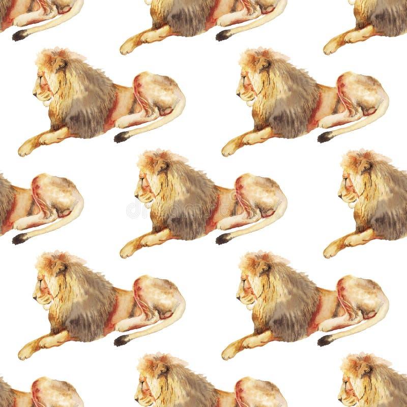 Modello senza cuciture con il leone royalty illustrazione gratis