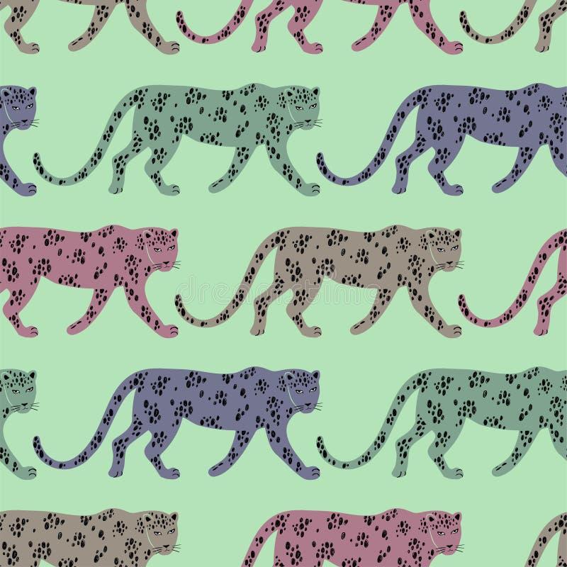 Modello senza cuciture con il leopardo illustrazione vettoriale