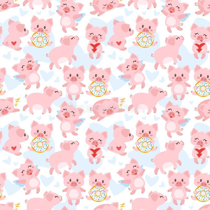 Modello senza cuciture con il maiale rosa illustrazione vettoriale
