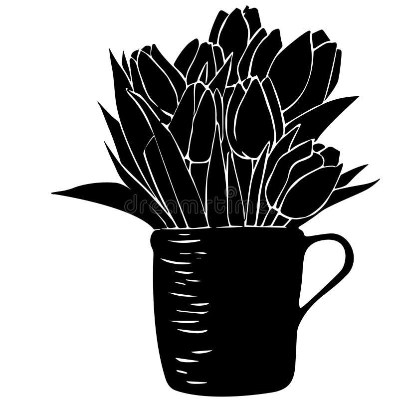 Modello senza cuciture con il mazzo dei tulipani in una tazza ed in pois immagine stock libera da diritti