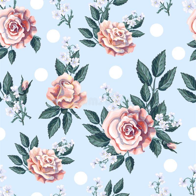 Modello senza cuciture con il mazzo delle rose di tè su fondo blu-chiaro Illustrazione di vettore illustrazione vettoriale