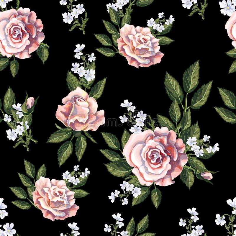 Modello senza cuciture con il mazzo delle rose di tè su fondo nero Illustrazione di vettore royalty illustrazione gratis