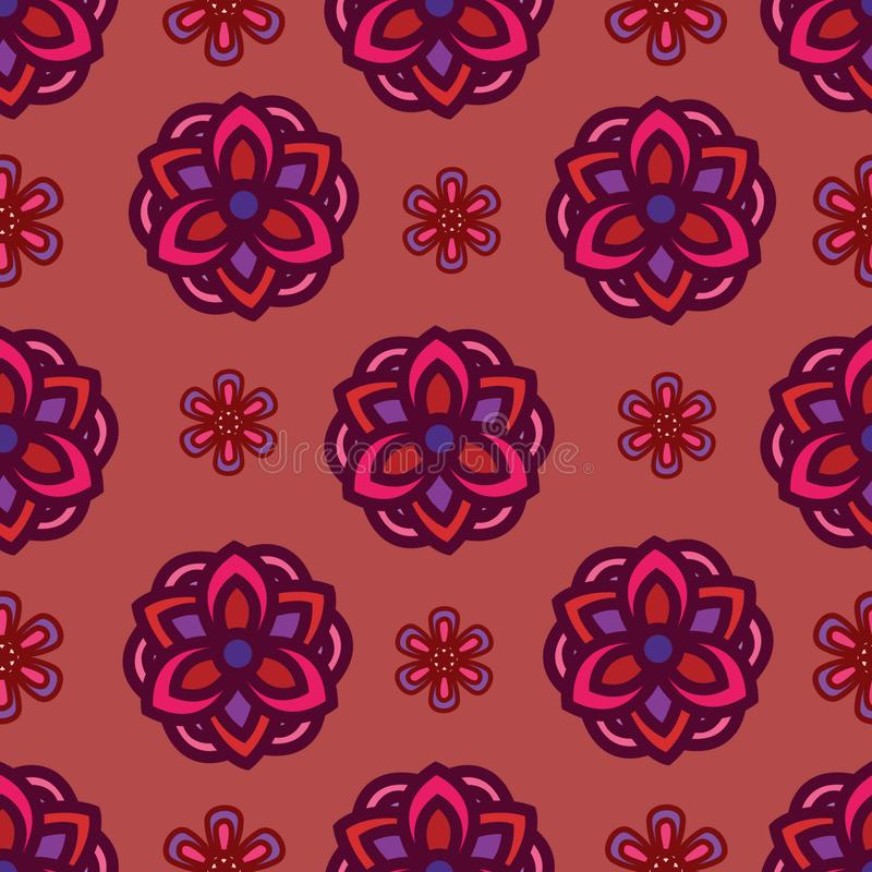 Modello senza cuciture con il motivo del fiore con colore molto bello Fondo del modello con l'elemento floreale d'annata illustrazione vettoriale