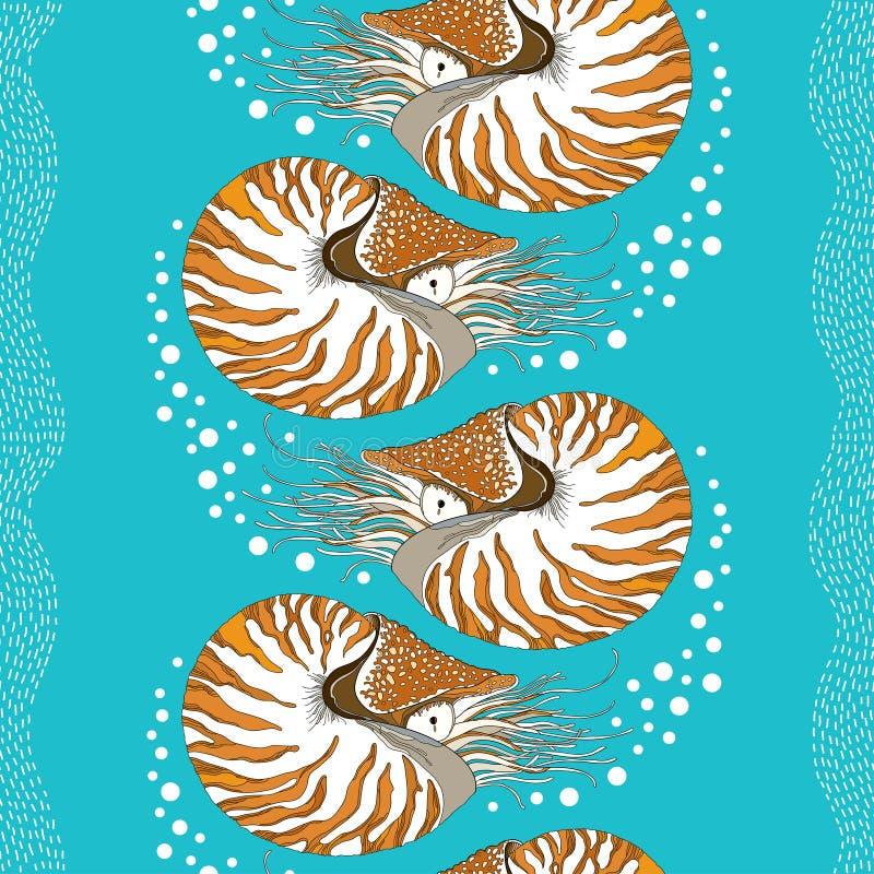 Modello senza cuciture con il nautilus pompilius o nautilus a temperatura ambiente sui precedenti del turchese con le bolle e le  royalty illustrazione gratis
