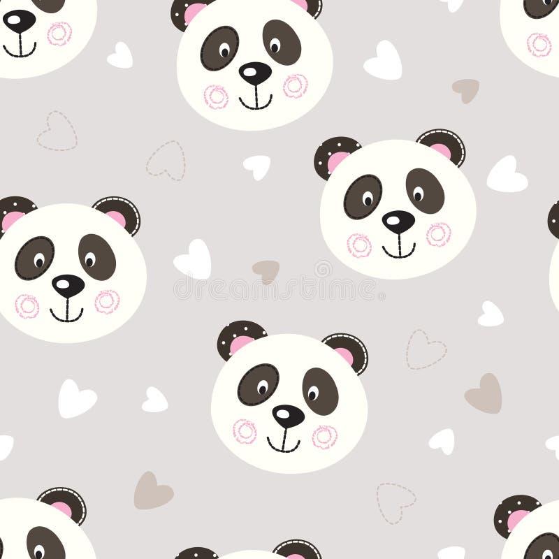 Modello senza cuciture con il panda sveglio illustrazione di stock