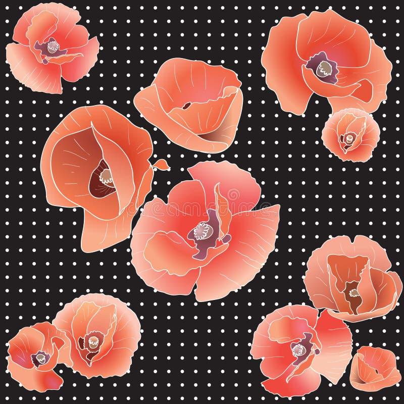 Modello senza cuciture con il papavero rosso. royalty illustrazione gratis