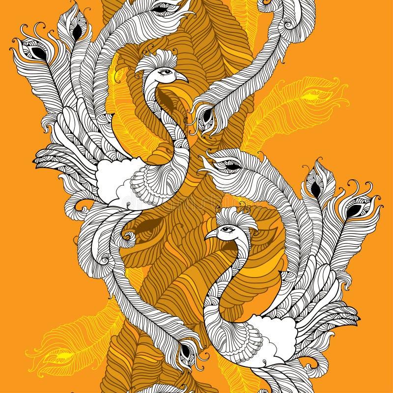 Modello senza cuciture con il pavone nelle piume bianche e variopinte dei pavoni illustrazione vettoriale