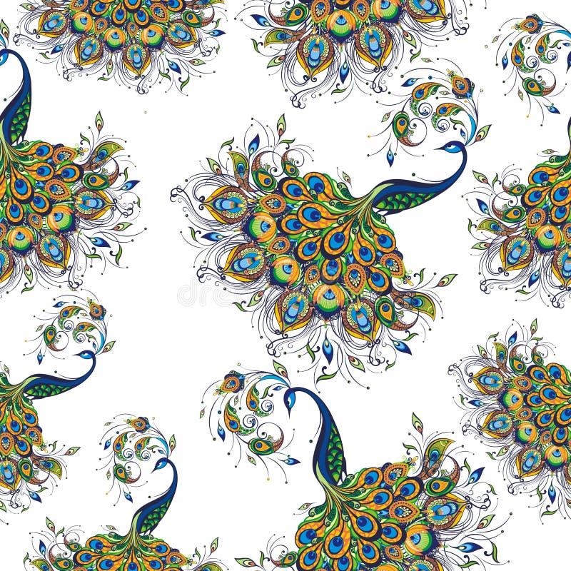 Modello senza cuciture con il pavone su fondo bianco royalty illustrazione gratis