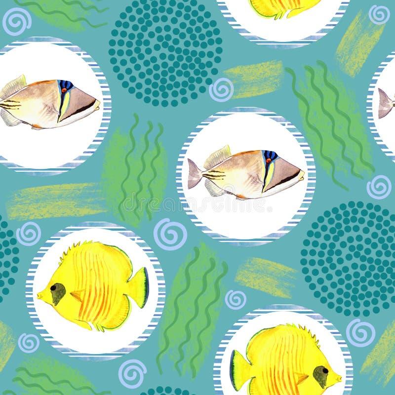 Modello senza cuciture con il pesce di mare tropicale Priorità bassa dell'acquerello illustrazione di stock