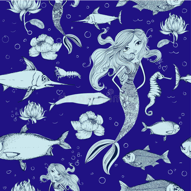 Modello senza cuciture con il pesce e la sirena illustrazione di stock