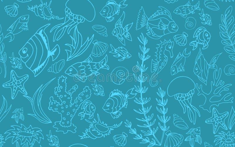 Modello senza cuciture con il pesce tropicale differente fotografie stock libere da diritti