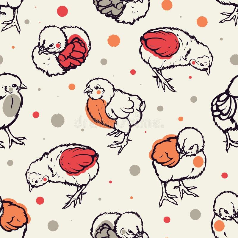 Modello senza cuciture con il piccolo pollo pollame agricoltura Innalzamento del bestiame Disegnato a mano illustrazione di stock