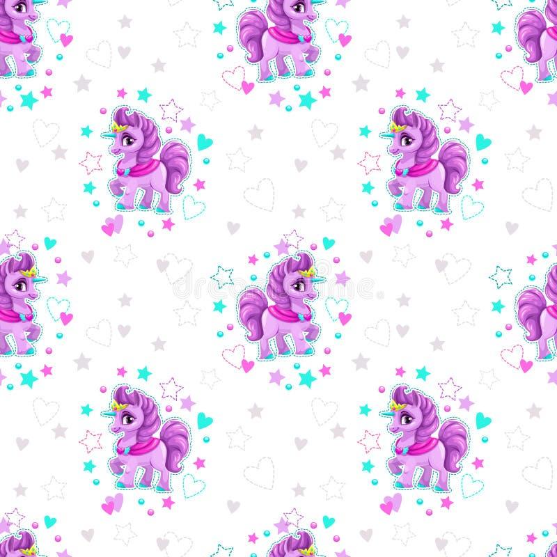 Modello senza cuciture con il piccolo unicorno del bello fumetto royalty illustrazione gratis