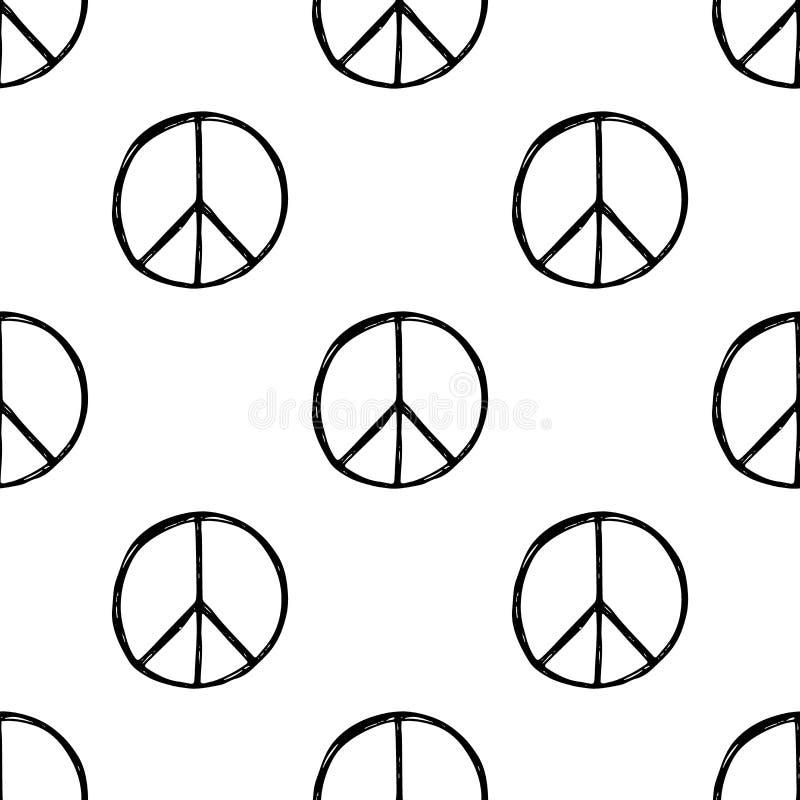 Modello senza cuciture con il simbolo di pace disegnato a mano di hippy Segno di Pacifico del hippy illustrazione vettoriale
