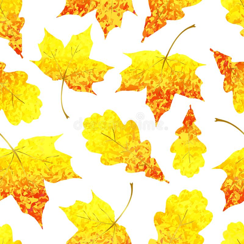 Modello senza cuciture con l'acero giallo rosso e la quercia scintillare dorato royalty illustrazione gratis
