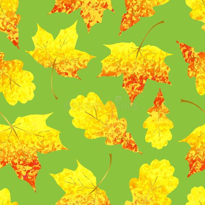 Modello senza cuciture con l'acero giallo rosso e la quercia scintillare dorato illustrazione di stock