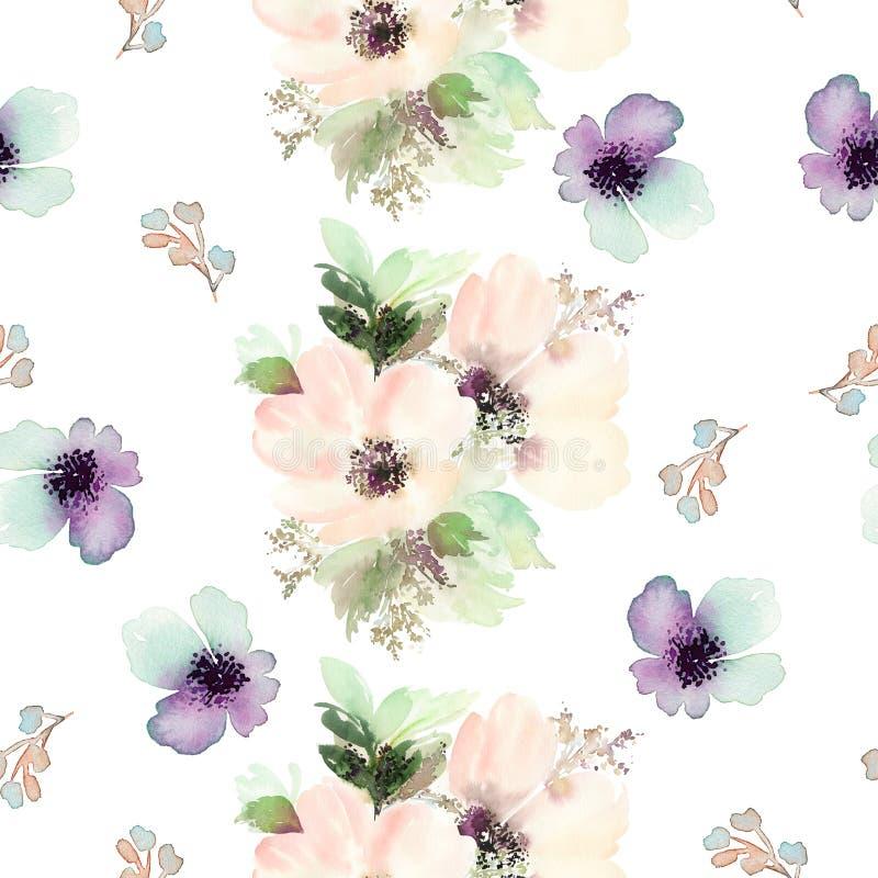 Modello senza cuciture con l'acquerello dei fiori royalty illustrazione gratis