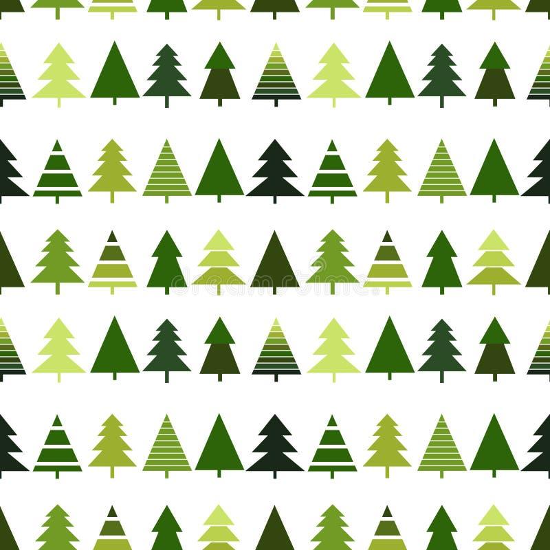 Modello senza cuciture con l'albero di Natale Illustrazione di nuovo anno felice illustrazione di stock