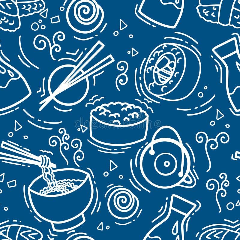Modello senza cuciture con l'alga tradizionale gli spuntini, il tè, le tagliatelle e dei rotoli di sushi asiatici Ristorante di c illustrazione di stock