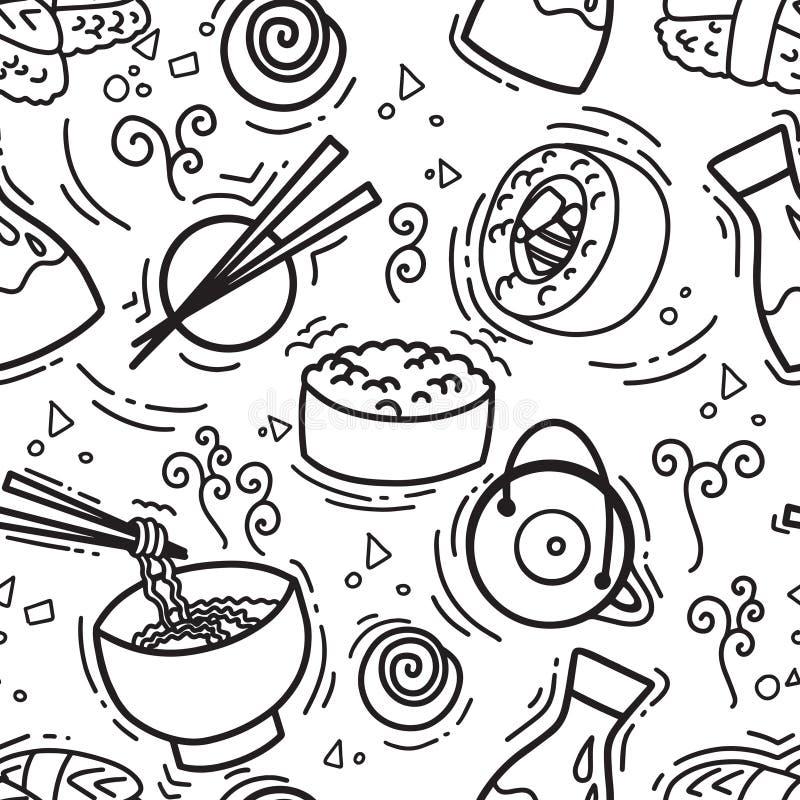 Modello senza cuciture con l'alga tradizionale gli spuntini, il tè, le tagliatelle e dei rotoli di sushi asiatici Ristorante di c royalty illustrazione gratis