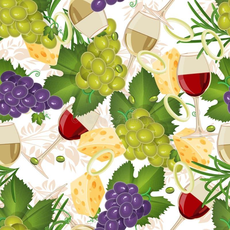 Modello senza cuciture con l'alimento biologico della frutta, vetri, vino, uva royalty illustrazione gratis