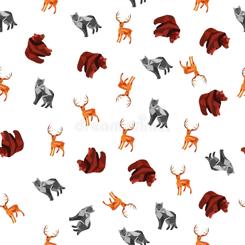 Modello senza cuciture con l'animale selvatico poligonale immagine stock