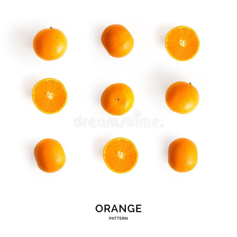 Modello senza cuciture con l'arancia Priorità bassa astratta tropicale Frutta arancio sui precedenti bianchi fotografia stock libera da diritti