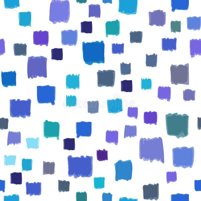 Modello senza cuciture con l'estratto blu di colore dei piccoli quadrati dipinti a mano Vettore, geometrico illustrazione vettoriale